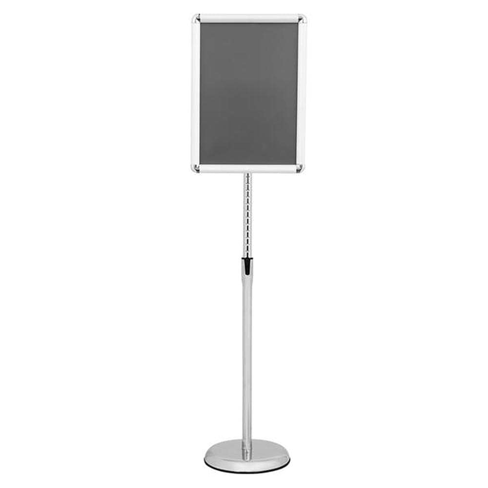 SUOTENG A3 Aluminum Poster Stand, Adjustable Pedestal Poster Stand Aluminum Snap Open Frame for Vertical and Horizontal View Sign Displayed, Round Base.