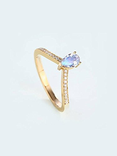 Moonstone Engagement Ring Solid 14k White Yellow Rose Gold Diamond Pear Shape Solitaire Wedding Band Curved Antique Vintage Women Anniversary Gift for Her Promise ()
