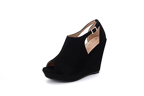 LISA02 Women's Platform Wedges Cutout Side Straps,Peep-Toe Ankle Bootie. Black 6 ()
