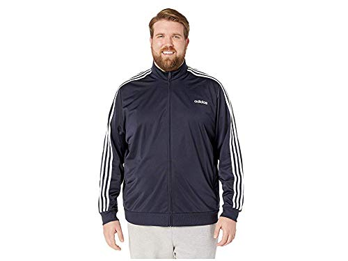 adidas Essentials Men's 3-Stripes Tricot Track Jacket, Legend Ink/White, 2XLT by adidas