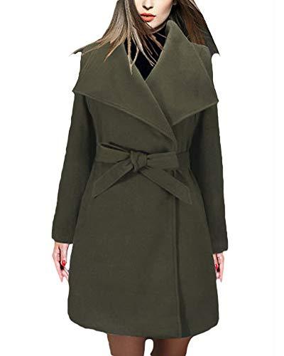 Verte Avec coat Manteau Veste Ceinture En Longue Veste Laine Femme Trench Zhuikuna Elégante Manteau qOxvtgPqFw