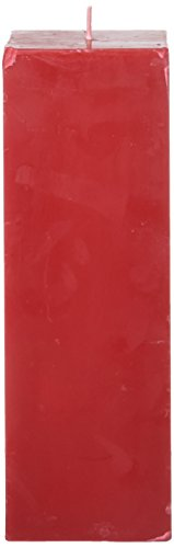 Zest Candle Pillar Candle, 3 by 9-Inch, Red Square ()