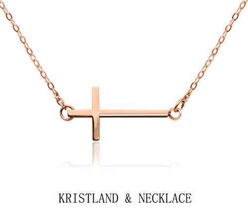 KristLand - 18k Gold Plated Titanium Steel Solid Cross Form Necklace Pendant Choker Gothic Adjustable Long Rose Gold Color