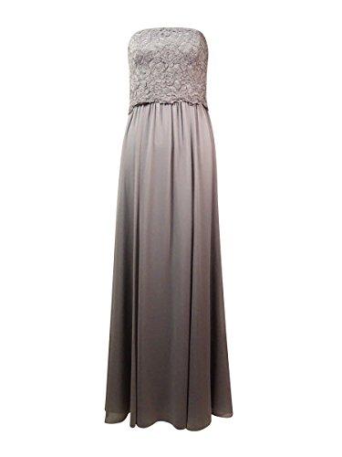 Lauren Ralph Lauren Women's Strapless Lace Crepe Dress,Gray, 4