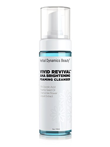 HD Beauty Vivad Revival AHA Brightening Foaming Cleanser with Glycolic Acid, Rosehip Seed Oil, Chamomile Flower Oil, Seaweed Extract, Lemon Fruit Oil, Sunflower Seed Oil for Cleansing Skin, 5.0 oz.