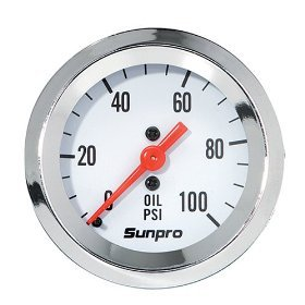 ine Mechanical Oil Pressure Gauge - White Dial (Oil Gauge)