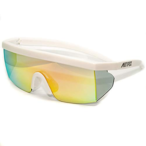 Meripex Apparel Unisex Sport Retro Vintage Mirrored Sunglasses cheaper than Pit Vipers Halloween (Matte White)