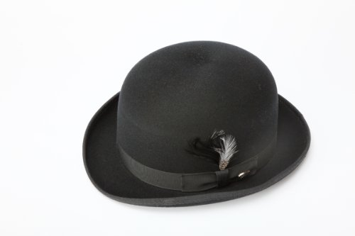 New Mens 100% Wool Black Derby Bowler (Mens 1930's Costumes)