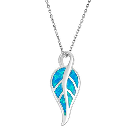 Beaux Bijoux Sterling Silver Created Blue Opal Leaf Pendant with 18 Chain