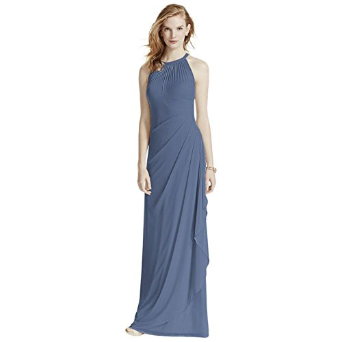 1cfaa306a74a Home  Davids Bridal Bridesmaid Dresses. Long Mesh Bridesmaid Dress With  Illusion Neckline Style F15662