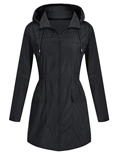(Mavis Laven Light Weight Insulated Rain Jacket Trench Coat Front-Zip for Women Black 2XL)
