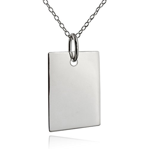 FashionJunkie4Life Sterling Silver Blank Rectangle Pendant Necklace w/18 Cable Chain, for Engraving or ()