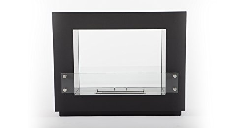 Outdoor See Through Fireplace (Kardiel EP-FLR-ALPENTAL-BLK Alpental Vent Less Freestanding Ethanol Fireplace,Chimney Black,31.5