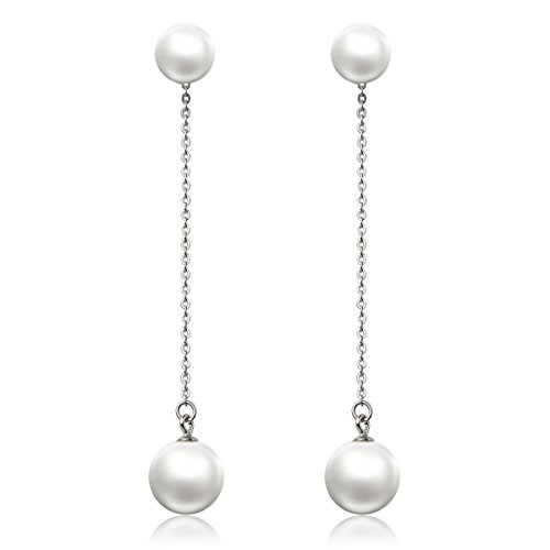 (CAT EYE JEWELS S925 Sterling Silver Double Pearl Earrings 8-10mm Button Ball Pearl PL01 )