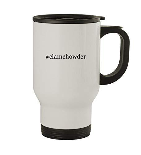 #clamchowder - 14oz Sturdy Hashtag Stainless Steel Travel Mug, White