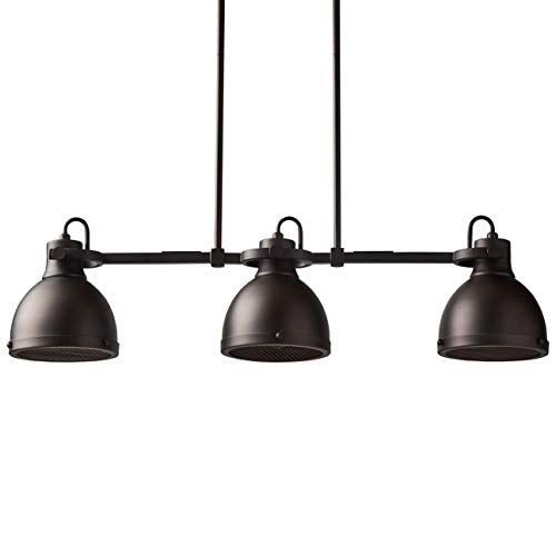 Stone & Beam Emmons Triple Ceiling Mount Pendant Lighting Chandelier With Light Bulbs - 31.5 x 6.25 Inches, 8.25 - 56.25 Inch Cord, Oil-Rubbed Bronze