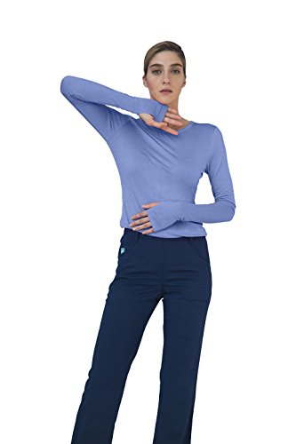 Adar Indulgence Long Sleeve Fitted Luxury Scrub Tee - 4500 - Ceil Blue - - Dallas Outlet Shopping