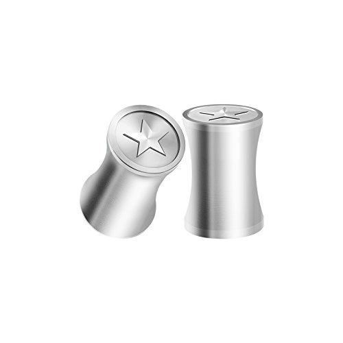 Logo Ear Plug Rings - BIG GAUGES Pair Surgical Steel 4g Gauge 5mm Polished Double Flared Star Logo Piercing Jewelry Stretcher Ear Ring Lobe Plugs BG1074