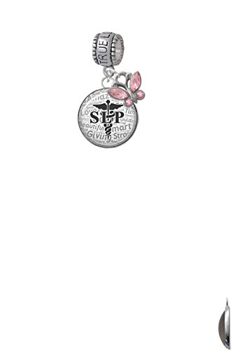 Domed Black SLP True Love Waits Charm Hanger with Mini Pink Butterfly by Delight Jewelry (Image #3)