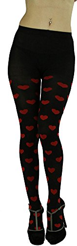 ToBeInStyle Women's Black Spandex Opaque Pantyhose with Red Heart Print