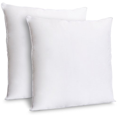 ZOYER Throw Pillow Inserts (2 Pack, White) - Decorative Square Pillow Inserts Indoor Sofa Pillows - Premium Poly Cotton Cover (18x18 Inch)