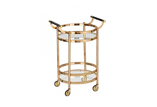Klikel Gold Rolling Bar Cart With Glass Design - Two Tier Rolling Serving Carts For Kitchen, Home Decor, And Drinks (Gold Cart Bar)