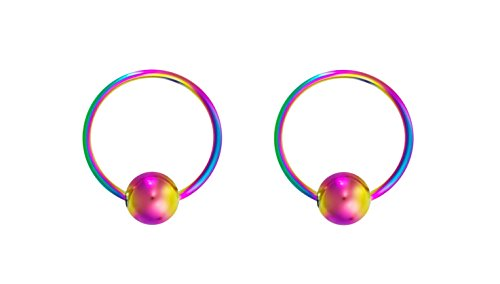 Forbidden Body Jewelry 20g 8mm Rainbow Surgical Steel Captive Bead Body Piercing Hoops (2pcs)