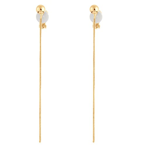 - Simple Long Tassel Clip on Dangle Earring Clip for non Pierced Gold Plated Fashion for Girl
