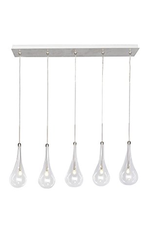 Larmes 5 Light Pendant - ET2 E23125-18PC Larmes 5-Light LED Linear Pendant, Polished Chrome Finish, Clear Glass, G4 LED Bulb, 25W Max, Wet Safety Rated, 3000K Color Temp, Shade Material, 1440 Rated Lumens
