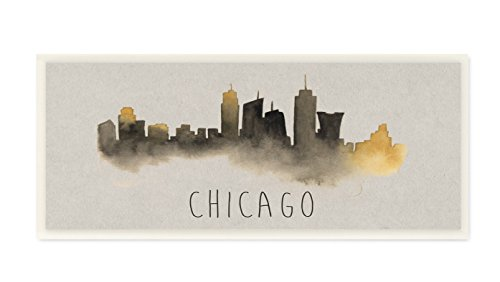 Stupell Home Décor Chicago Skyline Silhouette Wall Plaque Art, 7 x 0.5 x 17, Proudly Made in USA (Party City Grand Ave)