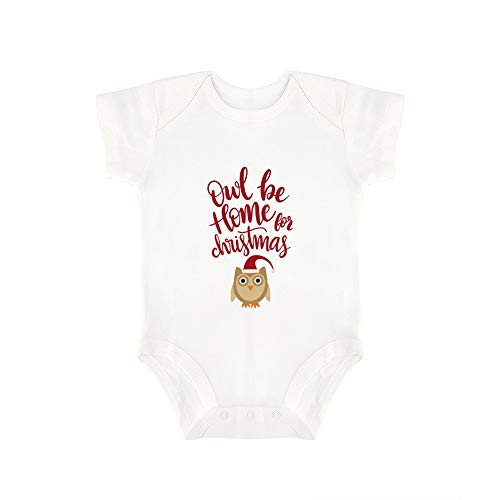 (Promini Cute Baby Onesie Owl Be Home for Christmas (2) Baby Bodysuit Infant One Piece Baby Romper Best Gift for Baby White)