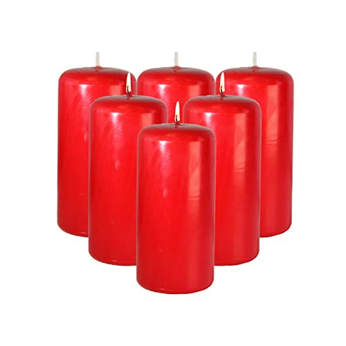 CandleNScent 3x6 Holiday Red Pillar Candles Unscented (Pack of 6)