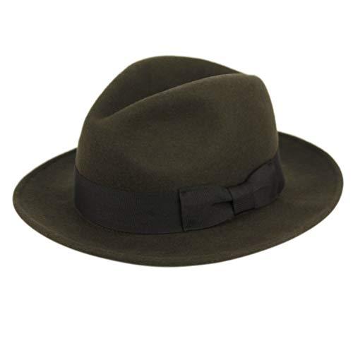 Men's Premium Milano Wool Felt Fedora Grosgrain Band Hat (L/XL, Olive)