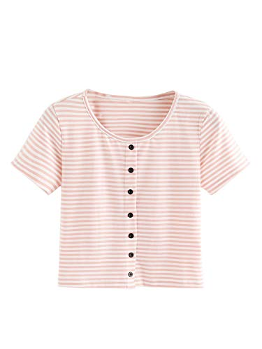 Verdusa Women's Short Sleeve Button-Up Fitted Casual Striped Crop T-Shirt Top Pink M