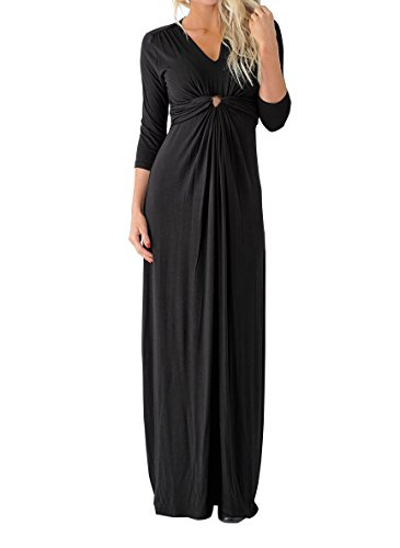 Knot Front Dress Black - Nulibenna Womens 3/4 Sleeve Twist Knot Maxi Dress Solid Color V Neck Long Dresses