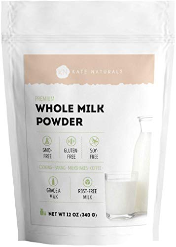 Whole Dry Milk Powder – Kate Naturals. Made In USA. RBST-Free. Great Substitute For Liquid Milk. Large Resealable Bag.1-Year Guarantee. (12oz)