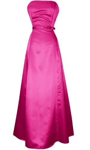 50s Strapless Satin Long Bridesmaid Prom Dress Formal Junior Plus Size, 2X, Fuchsia