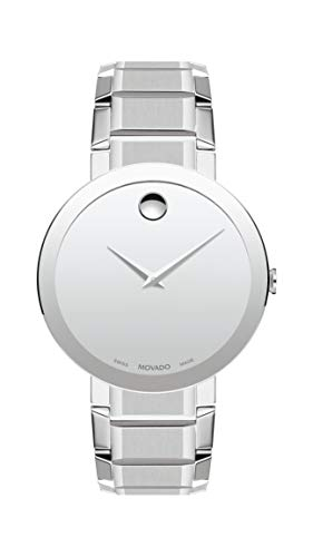 Movado Men's Sapphire Stainless Steel Watch with a Concave Dot Museum Dial, Silver (Model ()