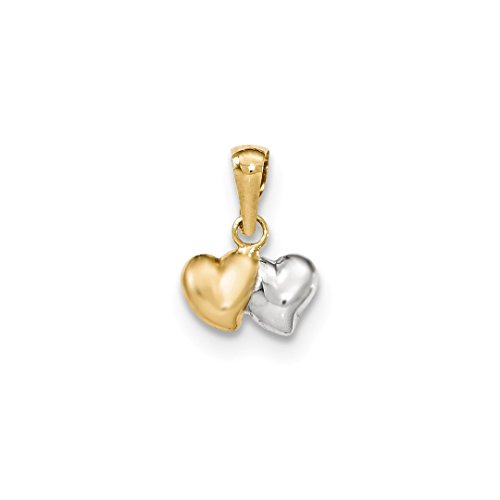 14k Yellow Gold Two Heart Pendant Charm Necklace Love Fine Jewelry For Women Gift Set -