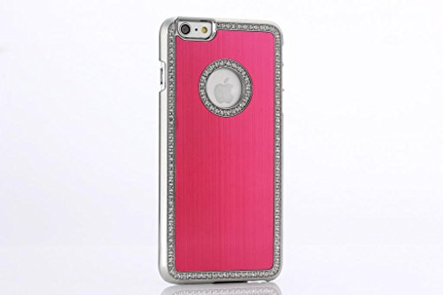 High Quality Apple Iphone 6 (4.7 inch) Deluxe Hot Pink brushed aluminum diamond case bling cover for Apple Iphone 6 (4.7 inch)