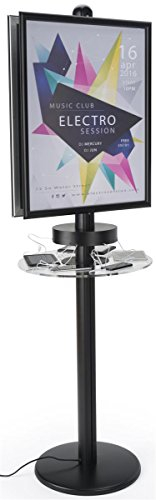 (Displays2go, Floor Standing Poster Stand for Phone Chargers, Aluminum & Steel Construction, Acrylic Shelf - Black Finish, Clear (FLCHGP2BK))