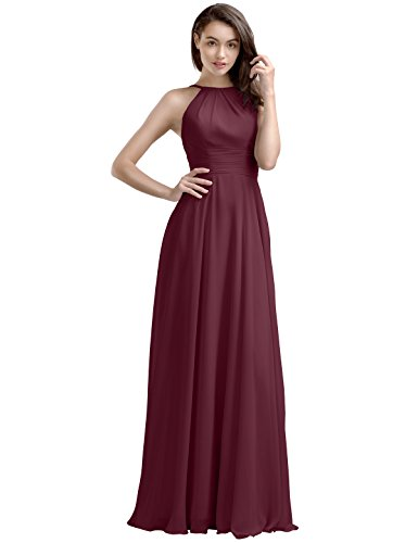 Bridal Bridesmaid Dress A-line - AW Bridal Long Bridesmaid Dresses Chiffon Prom Dresses A-Line Formal Dresses for Women, Burgundy, US14