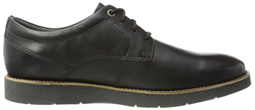 black Para Folcroft Clarks Negro Leather Hombre Derby Plain wYRRqUv