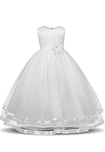 Yming Grande Robe De Demoiselle D'honneur Solide Robe Pincess Filles Manches Tutu Blanc De Deress