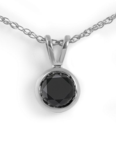 Bezel Set Brilliant Cut Diamond (Prism Jewel 0.50 Carat Round Brilliant Cut Bezel Set Black Diamond Solitaire Pendant, 14k White Gold)