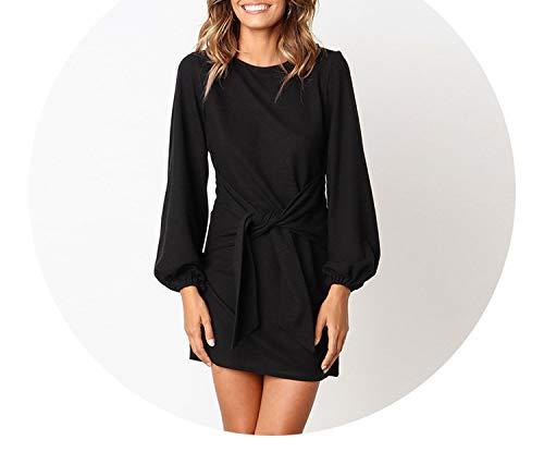(2018 Autumn Winter Dress Long Sleeve O-Neck Sexy Black White Dress with Belt Vestidos,100002black,M)