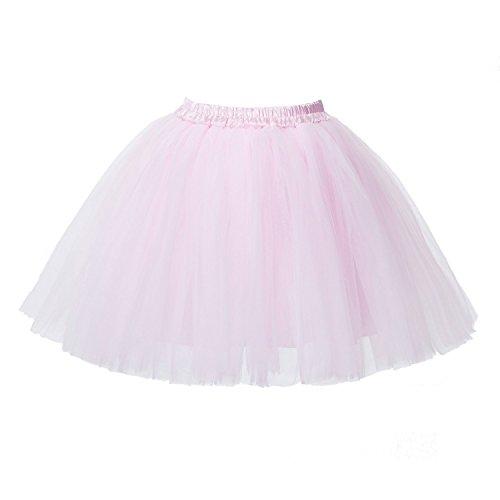 PerfectDay Women's Mini Tutu Ballet Multi-layer Ruffle Frilly Petticoat Skirt Pink