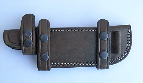 A&P Accessories Horizontal Scout Style Knife Sheath Genuine Leather with Fire Rod Loop Fits 5