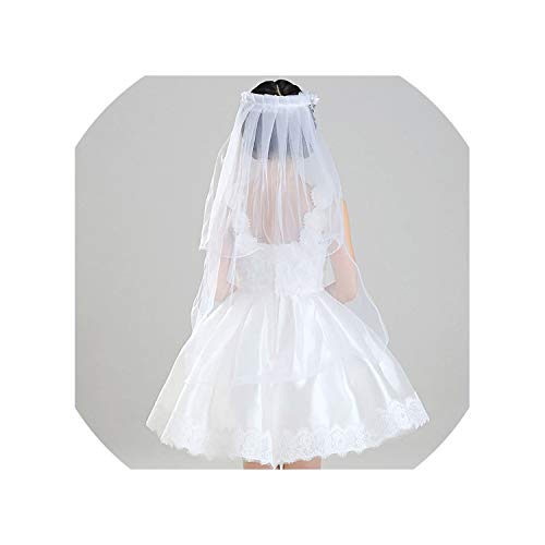 (Hairband Double Layers Tulle Veils Flowers Garland Ruffles Floral Lace Satin Lace Up Ribbon)