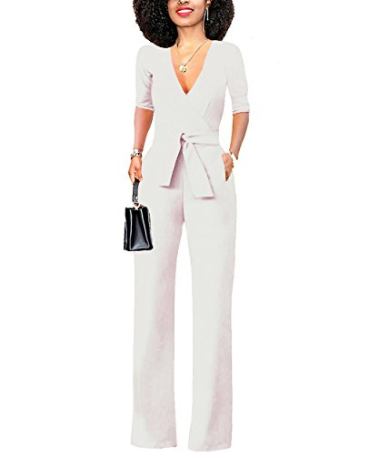 Women's Jumpsuit White (Chic-Lover Women's Elegant Solid Jumpsuit Short Sleeve Wrap Top High Waisted Wide Leg Long Pants Jumpsuits Romper with Belt White M)